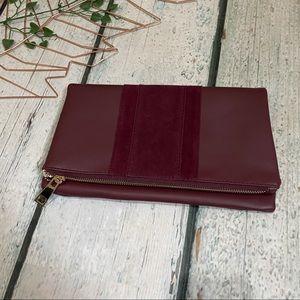 Summer & Rose burgundy clutch purse bag zip up